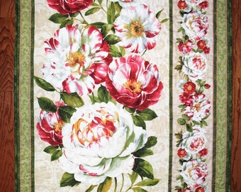 Floral Wall Hanging, Peonies, small lap quilt,
