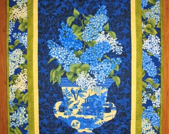 Floral Wall Hanging, Blue Iris in Vase, Table Topper, quilted, fabric Henry Glass