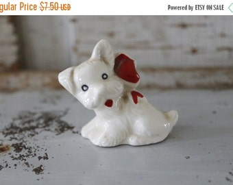 SHOP SALE Vintage White Terrier FIgurine with Red Bow