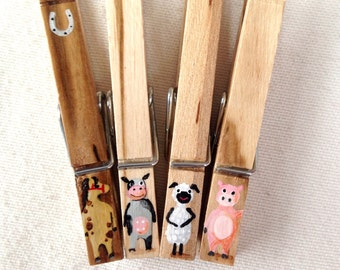 FARM ANIMALS CLOTHESPINS hand painted magnetic pig cow horse sheep wooden