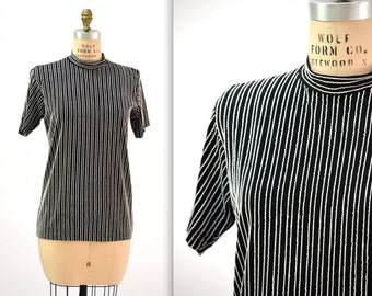Vintage 90s Black Tee Shirt Size Large 90s Minimalist Shirt Black and White Stripe 90s Club Kid Shirt
