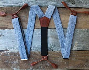 Blue Linen Suspenders with Brown Leather Button Ons // Mens Braces // Groom Outfit // 1.5 inches wide // BlueLinen //  Fancy Suspenders