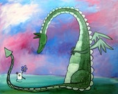 Dragon Painting Best Friends Cute Fantastic Beast Children Wall Art Whimsical Nursery Painting Kids Decor Artwork for Kids Storybook Art