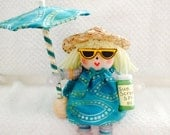 Reserved for Margi - Beach Baby & Born to Shop Button Dolls