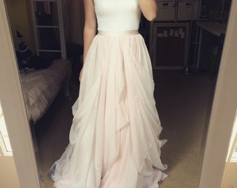 blush chiffon wedding skirt-made to order