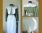 Vintage Thanksgiving Pilgrim Apron Bonnet Collar Set
