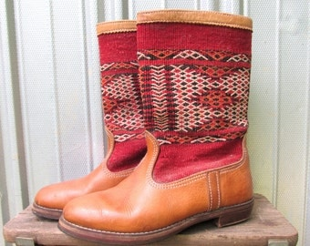 Vintage Tapestry Boots with Tan Leather size 10 1/2