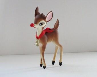 Vintage Hong Kong Rudolph Deer Reindeer Figurine , Vintage Hard Plastic Reindeer Deer 50s Hong Kong, Holiday Reindeer Figurine,