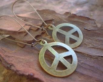 PEACE BRONZE - Earrings with long Kidney Hook (1186)