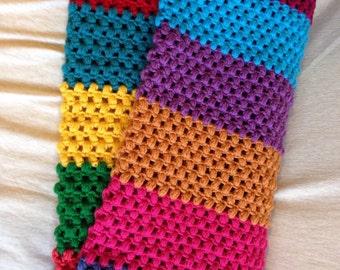 Striped puff stitch afghan