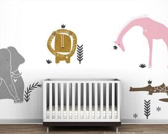 Royal Safari Wall Decal Mural by LittleLion Studio. Metallic colors. Sparkle Pink. Modern Baby Nursery Wall Decor