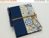 MOVING SALE Refillable Pocket Journal, Notebook, Sketchbook, Blue and Gray with Suede Cord and Interior Pocket