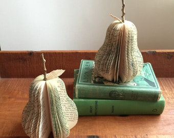 small VINTAGE BOOK PEAR /// ready to ship