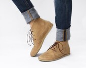Leona in Ecru - Handmade Leather flat lace-up ankle boots - Chukka boots - CUSTOM FIT