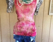 Hot Pink and Brown Women's Tank Top Tie Dye Over-dye Natural Stone Shabby Chic Rodeo Country Southern Western Sayings Custom Unique