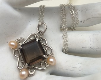 Purity - Sterling Silver with Smokey Quartz and Peach Pearls