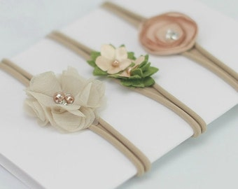 Baby headband SET, Baby Headband, Small Bows, Baby Bows, Newborn headbands,  Nylon Headbands, Itty bitty bows,Baby hair bows,Flower Headband