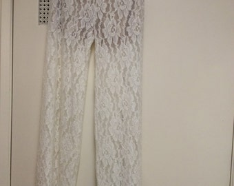 Lace pants semi sheer large new/top part lined/soft/sale! Ivory