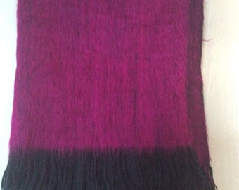 shawl mohair Cover up soft with Fringe/large about 6 feet long/new condition/raspberry fuchsia magenta