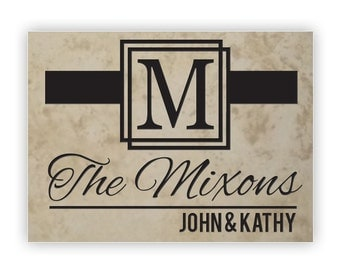 Engraved Natural Stone Decorative Tile - 9x13in Medium tile - 14015 Ribbon Personalized with names