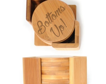 Wooden Round Coasters - Set of 6 with holder - 2504 Bottoms Up!