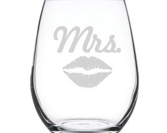 Stemless White Wine Glass-17 oz.-7847 MRS LIPS