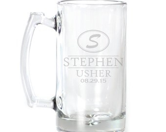 Personalized Large Beer Mug - 25 oz. - 8568 Oval Monogram Personalized with date