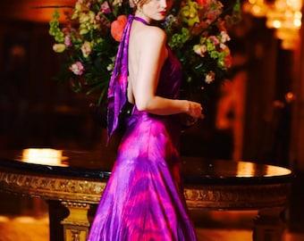 Pink purple silk boho bridal gown island wedding dress with crinoline skirt mother of the bride boho chic bridal sexy backless dress