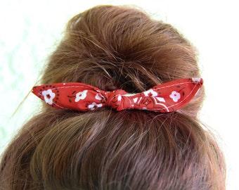 Hair Bows Knotted Bun Clip Hair Bows Red Bandanna Girl Teen Women Hair Accessory French Barrette Alligator Clip Hair Ties