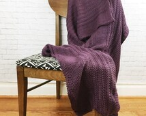 MEMORIAL DAY SALE Knitted Afghan Blanket Throw Chunky Knit // Plum // Ready To Ship!