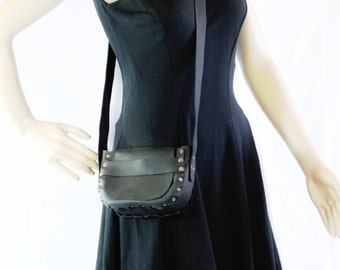 MILK Bag Mini Purse Black Leather Cross Body Bag with Rivets and Long Strap
