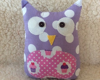 Ollie the owlet - stuffed owl - purple polka dots with pink cupcake belly