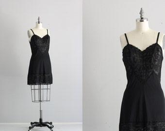 Retro 50s Lingerie . Vintage Black Lace Slip . Pin Up Lingerie