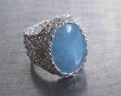 Angelite Gemstone Ring, Fine Silver Wire Crochet Ring, Statement Ring