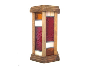 Vintage Mid Century Wood and Stained Glass Candle Holder // Home Decor // Candleholder // Boho // Rustic