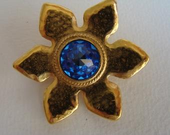 YSL Yves Saint Laurent blue flower brooch or pendant