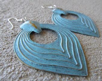 LARGE Blue Earrings- BOLD earrings