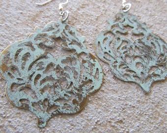 LARGE Pale/Minty Teal Earrings- BOLD earrings
