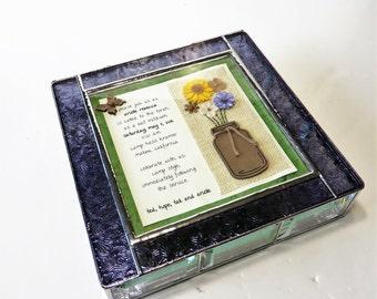 Stained Glass Bat Mitzvah Invitation Keepsake Gift Box 9x9x2 Shadow Box Graduation Birthday Gift Custom Made-to-Order