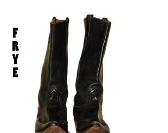 Frye Black Cowboy Boots  1960s Mens Boots Size 13 D