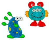 MONSTERS 1 - Machine Applique Embroidery - 2 Patterns in 2 Sizes - Instant Digital Download