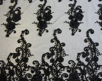 EMBROIDERED BEADED Lace In Black -  NELL