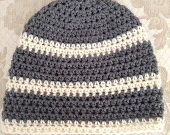 """Hand Crocheted hat,Beanie, Adult size,Striped Gray & White, 22-24"""""""