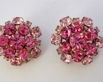 Vintage Pink Rhinestone Clip On Earrings Gold Tone Setting Unsigned