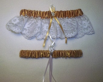 Gold Satin / White Lace - 2 Piece Wedding Garter Set - 1 To Keep / 1 To Throw