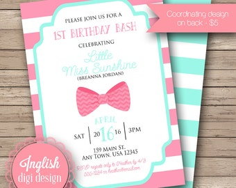 Hair Bow Birthday Party Invitation, First Birthday Party Invite, 1st Birthday Invite, Hair Bows, Stripes - Bow Tie Birthday in Pink & Teal