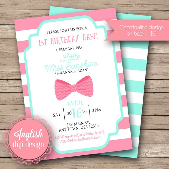 Hair Bow Birthday Party Invitation First Birthday Party