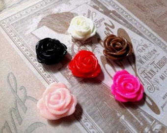 Rose Cabochons Assorted Colors 13mm Resin Flower Cabochons Flat Back Embellishments for Earrings Rings Ornate Design