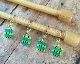Hand Drawn Yellow/Blue/Green/Zebra Knitting Stitch Markers - Set of 4 in lightweight shrink plastic