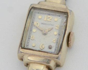 "c1942 Hamilton 14K Gold Filled ""Doris"" 721 17J Ladies Wrist Watch for Repair L2Y"